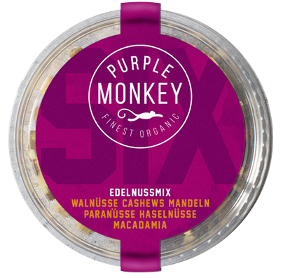 produkte-pure-nuts-pur-rohe-nüsse-purple-monkey-six-edelnussmix-mix-walnut-walnüsse-cashew-almond-mandel-paranüsse-paranuts-haselnüsse-hazelnut-macadamia-bio-organic-klemm-design